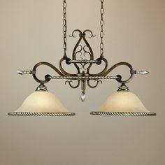 "Wentworth Bronze Crackle 33"" Wide Pendant Chandelier - #91057 | LampsPlus.com kitchen island"