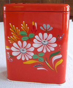 Vintage Ransburg Asters Hand Painted Metal Laundry Soap Dispenser Red Floral