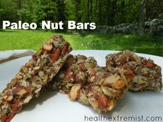Easy to Make Paleo Nut Bars - Health Extremist #paleo #nutbars #homemade #primal #recipe #snack