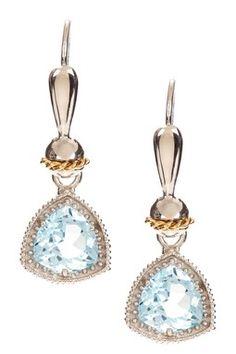 Two-Tone 18K Yellow Gold & Sterling Silver Trilliant Cut Blue Topaz Drop Earrings
