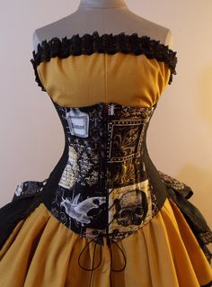 Nevermore Black and Gold Steampunk Full Bustle Gown Costume - CUSTOM SIZE - by LoriAnn Costume Designs. , via Etsy.