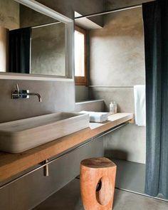 faire une douche à l italienne, salle de bain en béton ciré couleur taupe idee