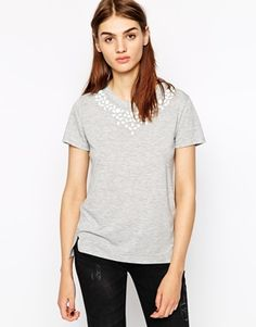 Image 1 of Whistles T-Shirt with Embellished Neck