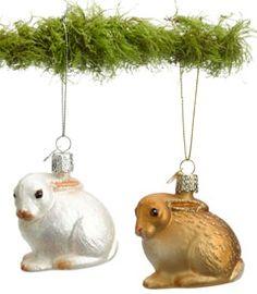 woodland bunny ornaments