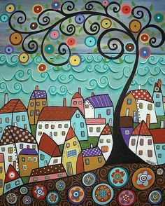 Purchase framed prints from Karla Gerard. All Karla Gerard framed prints are ready to ship within 3 - 4 business days and include a money-back guarantee. Doodle Art, Karla Gerard, Art Fantaisiste, Sea Art, Colorful Paintings, Folk Art Paintings, Tree Paintings, Naive Art, Whimsical Art