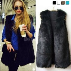 Chic Lady Faux Fur Vest Warm Outwear Long Hair Jacket Waistcoat