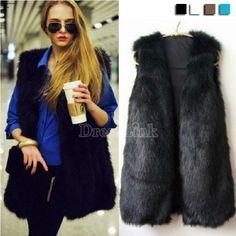 Chic Lady Faux Fur Vest Warm Outwear Long Hair Jacket Waistcoat