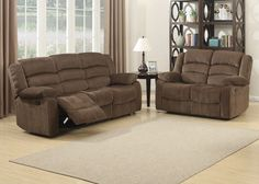 Bill 2 Piece Contemporary Brown Reclining Living Room Set. Give your home a new look with this transitional sofa and loveseat collection that was built for the family and entertaining. This set has been designed to provide a comfortable seating atmosphere by featuring a dual reclining sofa, and dual reclining loveseat. This set will be a focal point of the home and a place where memories will be created for a lifetime.Constructed with select hardwoods and reinforced by a heavy duty steel…