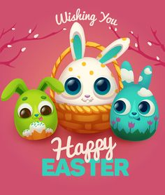 Easter rabbit cards vector material 03