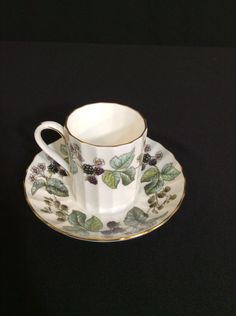 "Royal Worcester ""Lavinia"" Bone China Flat Demitasse Tea Cup & Saucer by…"