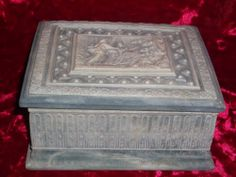Genuine Incolay Stone Trinket Jewelry Box Made in USA Blue Very Detailed