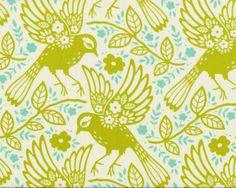 Patchworkstoff UP PARASOL, Blumen-Vögel, limette-türkis