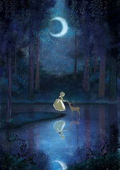 Girl & deer at night under a crescent moon......