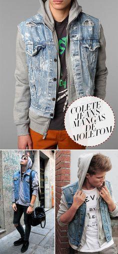 Colete jeans com mangas de moletom – veja como usar e aderir a essa tendência na moda masculina.