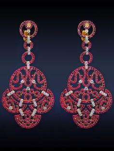 Jacob&Co Ruby Lace Earrings, 6.33 Carats Rubies, 0.77 Total Carats Diamonds,