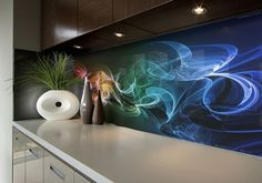 The complete glass service in Cardiff, Newport and the Valleys Kitchen Splashback Tiles, Splashback Ideas, Printed Glass Splashbacks, Kitchen Room Design, Kitchen Ideas, Glass Printing, Glass Kitchen, Chef Kitchen, Kitchen Wallpaper