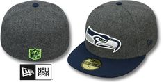 Seahawks '2T NFL MELTON-BASIC' Grey-Navy Fitted Hat by New Era : may be pictured without stickers that these products are shipped with
