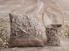 Custom Embroidery is welcome !    Elegant Wedding Pillow (1) Flower Girl Basket and (1)    Customizable Personalized wedding Ring Pillows ,