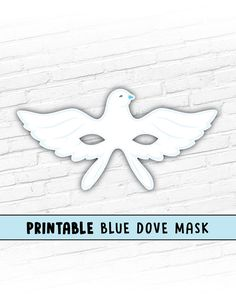 Printable Dove Mask  Blue Dove Mask  Printable Animal Mask