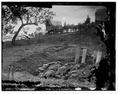 Gettysburg, Pennsylvania. Unfinished Confederate graves near the center of the battlefield.  1863 July