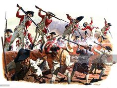 A painting depicting The British Army overpowering the Colonialist position during the Battle of Bunker Hill at the beginning of the Revolutionary War on June 17, 1775 outside Boston, Massachusetts.