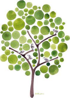 Songbirds Original Watercolour Tree Art Musical Wall by jellybeans, $65.00