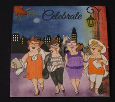 Art Impressions Uptown Girls (Sku#U4133) Ai Girlfriends set.  Handmade card.