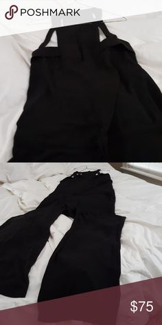 Jumpsuit BCBG Long and Flowy  with Cutouts at the shoulder area and chest. Drawstring to cinch the waist with pockets  and Super Long with Flare Legs. Worn Once for my Birthday Dinner BCBG Other