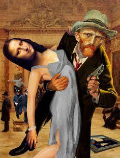 Des figures célèbres de tableaux classiques détournées dans des collages pleins…