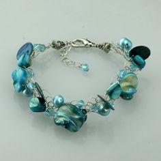 Chunky Teal shell pearl wiring bracelet handmade ani designs, $12.95