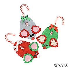 Mouse Candy Cane Holder Ornaments