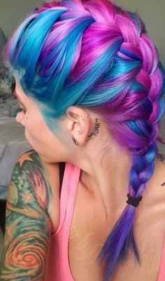 Blue purple dyed braided hair color @alixroseartistry