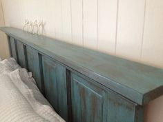 5 panel door headboard with nailhead fabric | Perfect use of the 'shelf'!! Dbl tap to see full pix! Total cost: $27 ...
