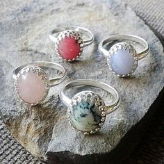 "5 Likes, 1 Comments - @thesparklingbead on Instagram: ""Of these 4 gorgeous stone rings, the pink rhodonite in the back is left and is up for grabs in my…"""