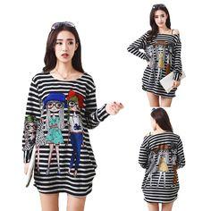 Autumn Women Shirts Long Loose Stripe Tee Shirt Cartoon Printed Plus Size Long-Sleeved Base Shirt For Women Casual Tops  #Affiliate