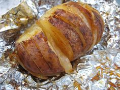 Baked Potato with Butter and Onions ~ 4/5 - Used Cavender's Greek Seasoning between slices and on outside.