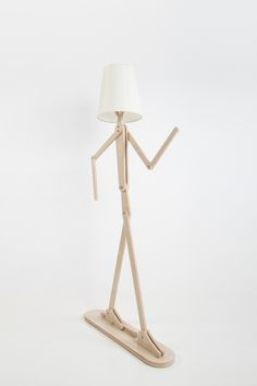 DIY fancy human shape standard lamp with flexible arm -Rustic Wooden Home lighting with four colours choice-By iWood Crafts LLC.