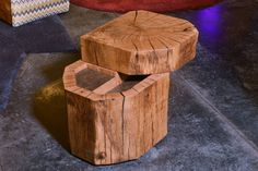 Stammdesign side table with a sliding top and a little storage space inside. Massive oak, the splits are filled with resin and an oil finishing for a smooth surface. #side #table #oak #woodwork #sliding #top #diy