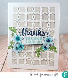 Card by Lisa Henke. Reverse Confetti stamp set: Whole Lotta Thanks. Confetti Cuts: Whole Lotta Thanks and Linked Circle Cover Panel. RC Inks: Navy, Iced Aqua, RC Aqua, Mist, Royal Purple, Baby Blue, Avocado and Lime Green. RC cardstock: Stone and Cloud White. Thank you card. Friendship card.