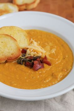 Creamy, flavorful and savory. This Pumpkin Sage Soup is perfect for fall and is delicious comfort in a bowl.