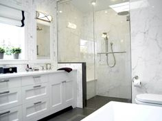 similar design challenge with window above vanity and nearby shower