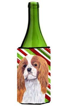 Cavalier Spaniel Candy Cane Holiday Christmas Wine Bottle Beverage Insulator Beverage Insulator Hugger, Multi