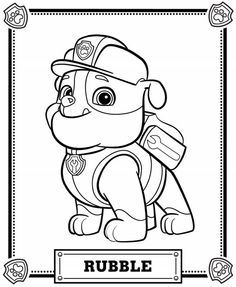 "Paw Patrol's Bulldog ""Rubble"" coloring page"