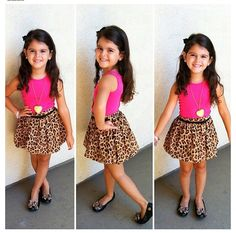 Little Fashionista  cheetah pleated skirt with a hot pink top and ballet flats. Super cute little girl outfit. Little girl style.