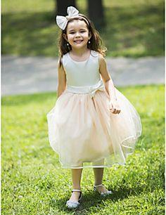 Báli ruha Térdig érő Virágoslány ruha - Sifon Ujjatlan Nyakpánt val vel Csokor