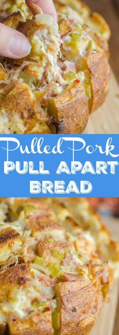 Pulled Pork Pull Apart Bread Recipe Pulled Pork Pull Apart Bread is loaded with succulent delicious pulled pork, cheese, chiles and onions. It's the perfect cheesy snack for game day! Fun Easy Recipes, Easy Appetizer Recipes, Appetizers For Party, Amazing Recipes, Delicious Recipes, Pork Recipes, Bread Recipes, Cooking Recipes, Smoker Recipes