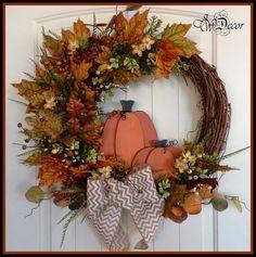 Fall Wreaths for door, Handmade, Pumpkin Wreath, Large Rustic Grapevine Wreath, Chevron Bow, Front Door Decoration 2 Pumpkins