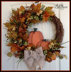 Fall Wreaths for door, Handmade, Pumpkin Wreath, Large Rustic Grapevine Wreath, Chevron Bow, Front Door Decoration 2 Pumpkins
