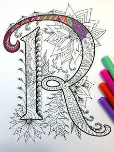 8.5x11 PDF coloring page of the uppercase letter R - inspired by the font Harrington  Fun for all ages.  Relieve stress, or just relax and have fun