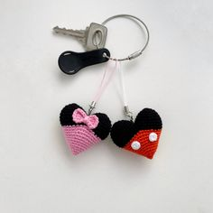 Mickey Mouse hart Keyring gebreide Disney Minnie Mouse | Etsy